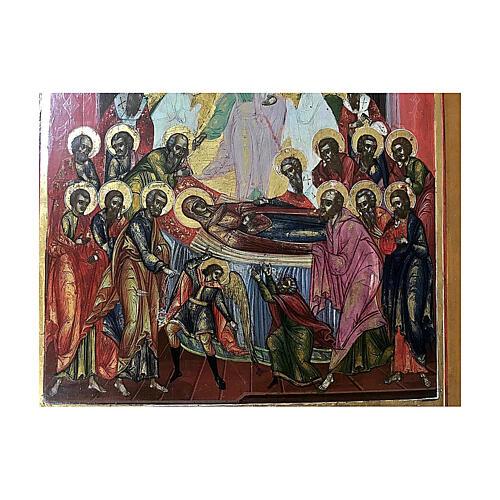Icona Russia Antica Dormizione della Vergine XIX sec 32x27 cm 2