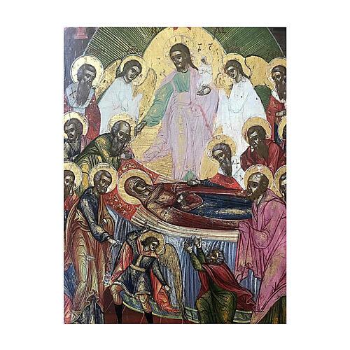 Icona Russia Antica Dormizione della Vergine XIX sec 32x27 cm 3
