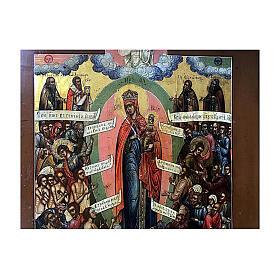 Icône russe ancienne Jaroslav Joie de Tous les Affligés XIX siècle 30x25 cm s3