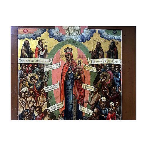 Icône russe ancienne Jaroslav Joie de Tous les Affligés XIX siècle 30x25 cm 3