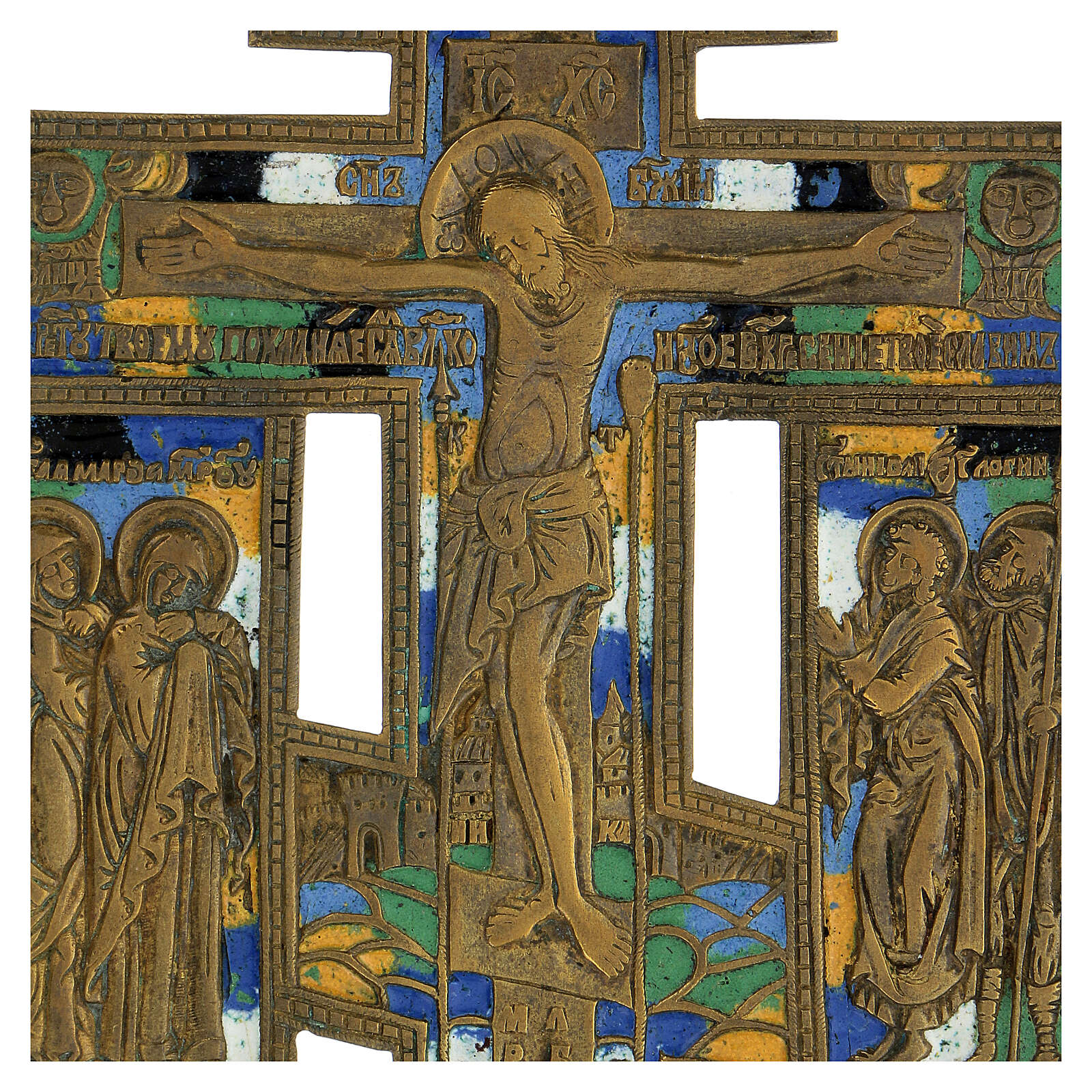 Icona crocifissione antica russa bronzo con smalti 15x10 cm 4