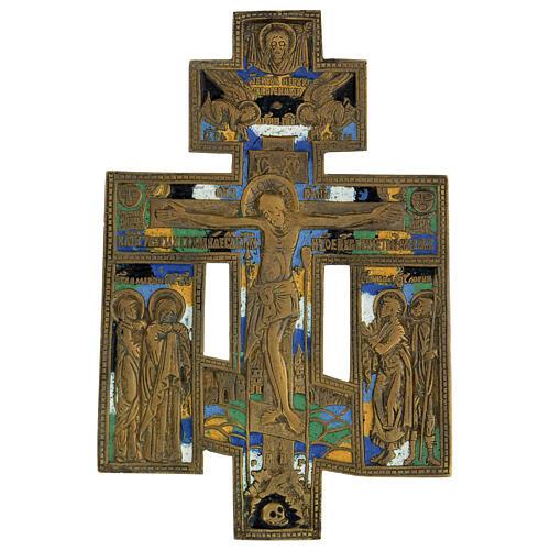 Icona crocifissione antica russa bronzo con smalti 15x10 cm 1