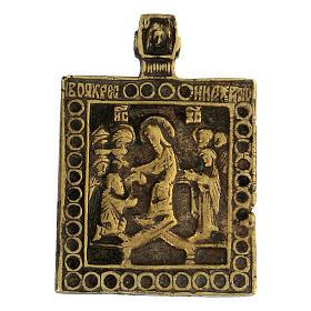 Bronzo antico Russia icona discesa agli inferi 5x5 cm s1