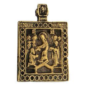Bronzo antico Russia icona discesa agli inferi 5x5 cm s2