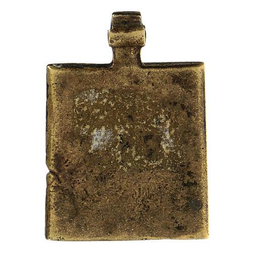 Bronzo antico Russia icona discesa agli inferi 5x5 cm 3