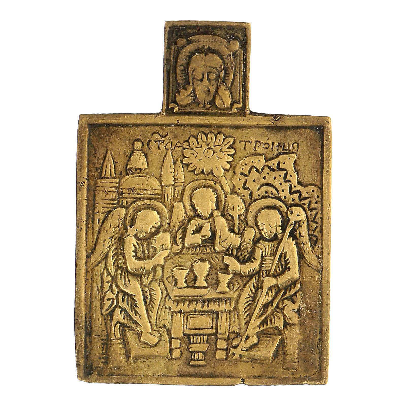 Bronze ancien icône Russie Trinité XVIII siècle 5x5 cm 4