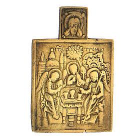 Bronze ancien icône Russie Trinité XVIII siècle 5x5 cm s2