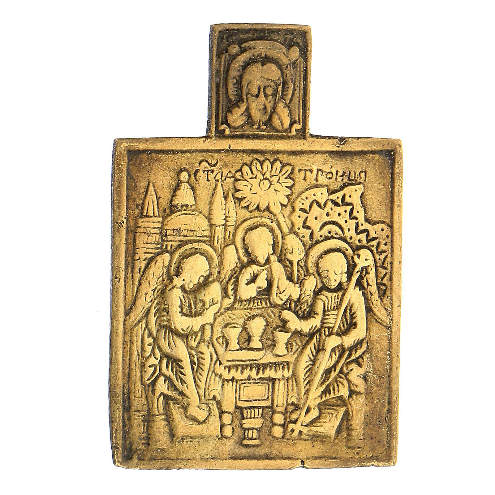 Trinità icona russa bronzo XVIII secolo 5x5 cm 4