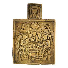 Trinità icona russa bronzo XVIII secolo 5x5 cm s1