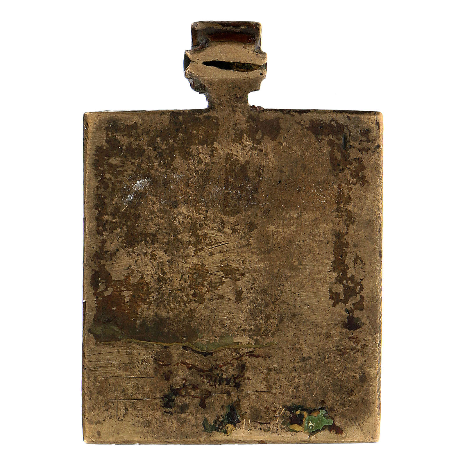 Icône russe de voyage Trinité ancienne bronze 5x5 cm 4