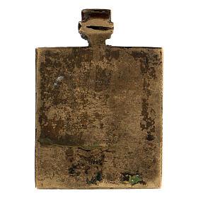 Icône russe de voyage Trinité ancienne bronze 5x5 cm s3