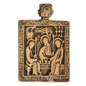 Icona russa Trinità antica da viaggio bronzo 5x5 cm s2