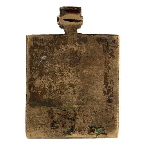 Icona russa Trinità antica da viaggio bronzo 5x5 cm 3