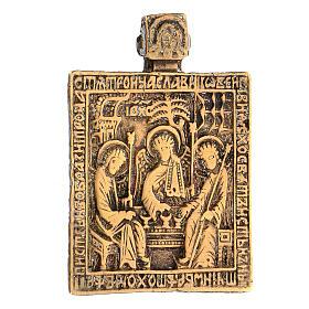 Icona russa antica da viaggio bronzo Trinità 5x5 cm s2