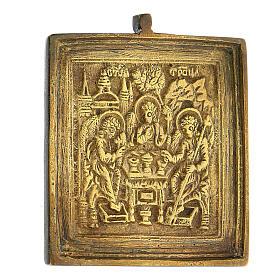 Icona da viaggio Trinità Antico Testamento bronzo Russia XIX sec 5x5 cm s2