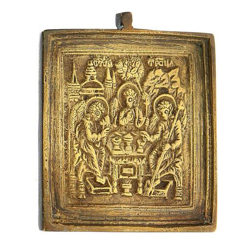 Icona da viaggio Trinità Antico Testamento bronzo Russia XIX sec 5x5 cm 2