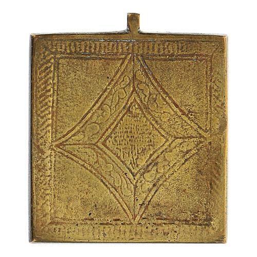 Icona da viaggio Trinità Antico Testamento bronzo Russia XIX sec 5x5 cm 3