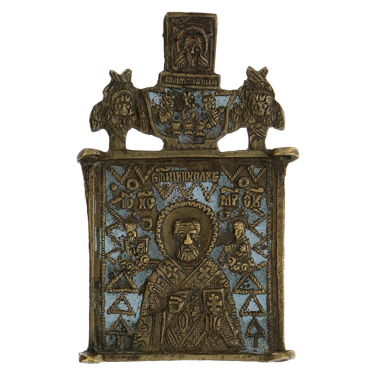 Icona bronzo San Nicola XIX sec Russia 10x5 cm 4