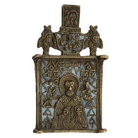 Icona bronzo San Nicola XIX sec Russia 10x5 cm s2