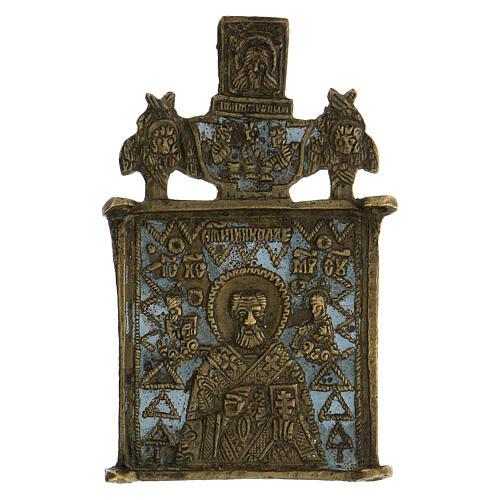 Icona bronzo San Nicola XIX sec Russia 10x5 cm 1