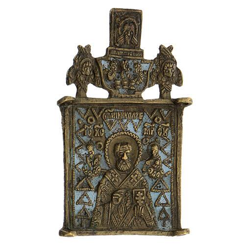 Icona bronzo San Nicola XIX sec Russia 10x5 cm 2