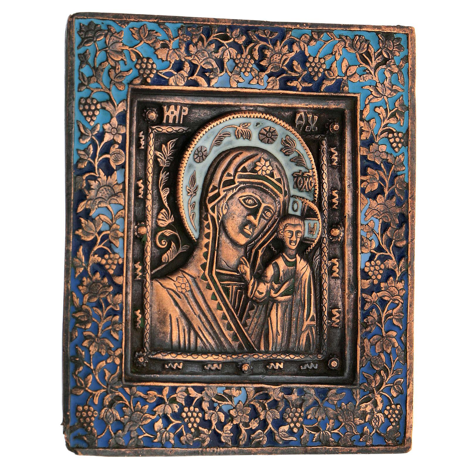 Icona bronzo Madonna di Kazan Russia XIX sec 10x10 cm 4