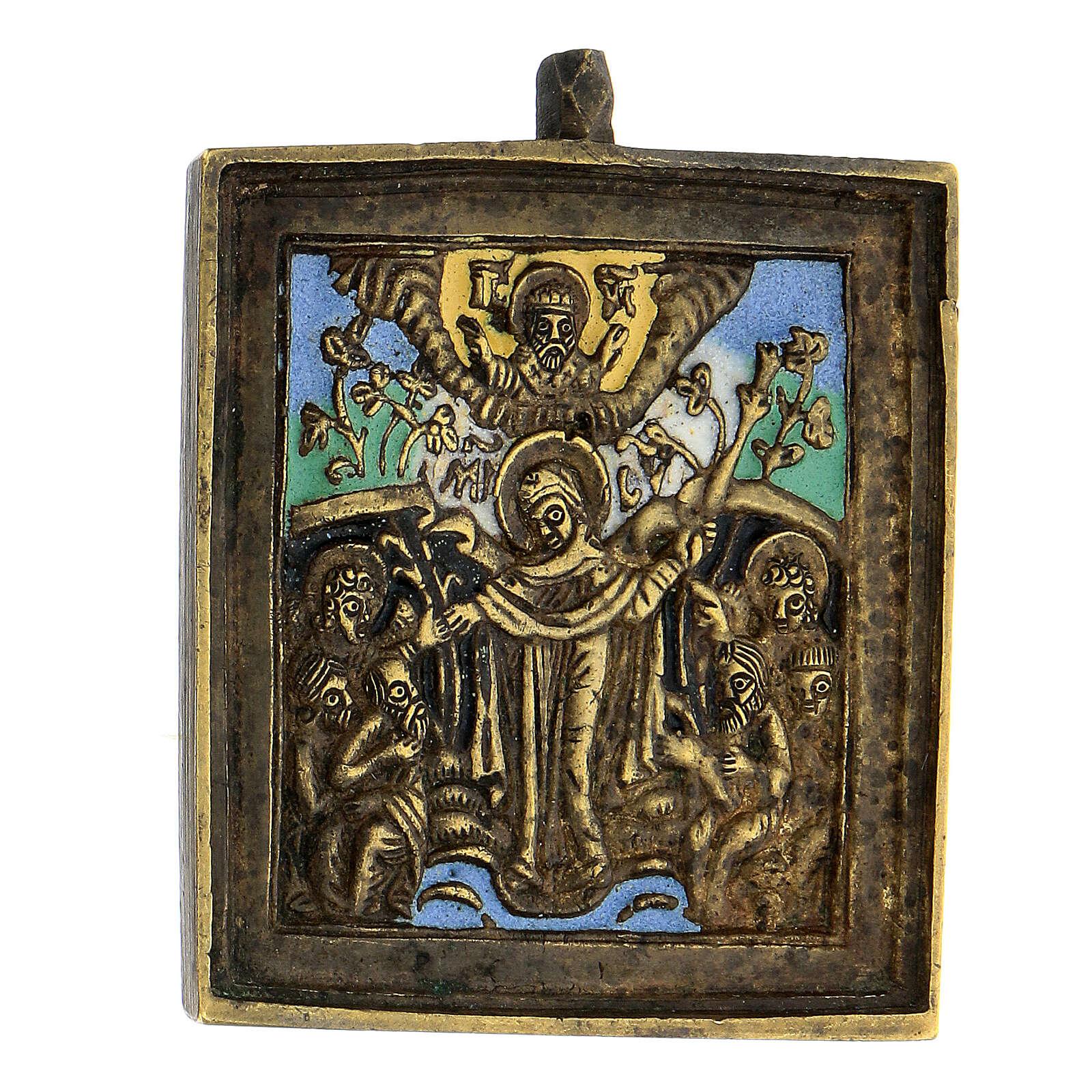 Icône Mère de Dieu Joie des Affligés bronze émaillé Russie XIX siècle 5x5 cm 4