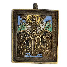 Icône Mère de Dieu Joie des Affligés bronze émaillé Russie XIX siècle 5x5 cm s2