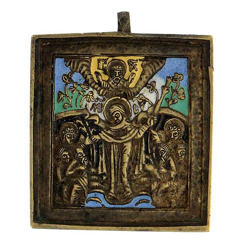 Icône Mère de Dieu Joie des Affligés bronze émaillé Russie XIX siècle 5x5 cm 1