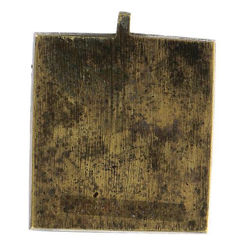 Icona Gioia degli Afflitti bronzo smaltato Russia XIX sec 5x5 cm 3