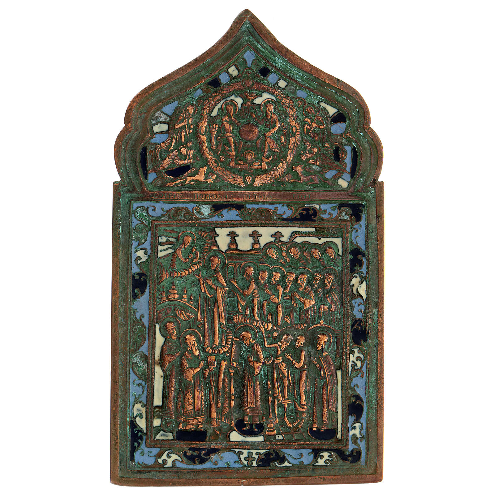 Bronzo Nuovo Testamento Madonna Pokrov icona russa antica 20x10 cm 4