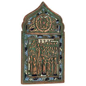Bronzo Nuovo Testamento Madonna Pokrov icona russa antica 20x10 cm s2