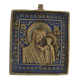 Bronze icône de voyage Vierge de Kazan Russie XIX siècle 5x5 cm s1