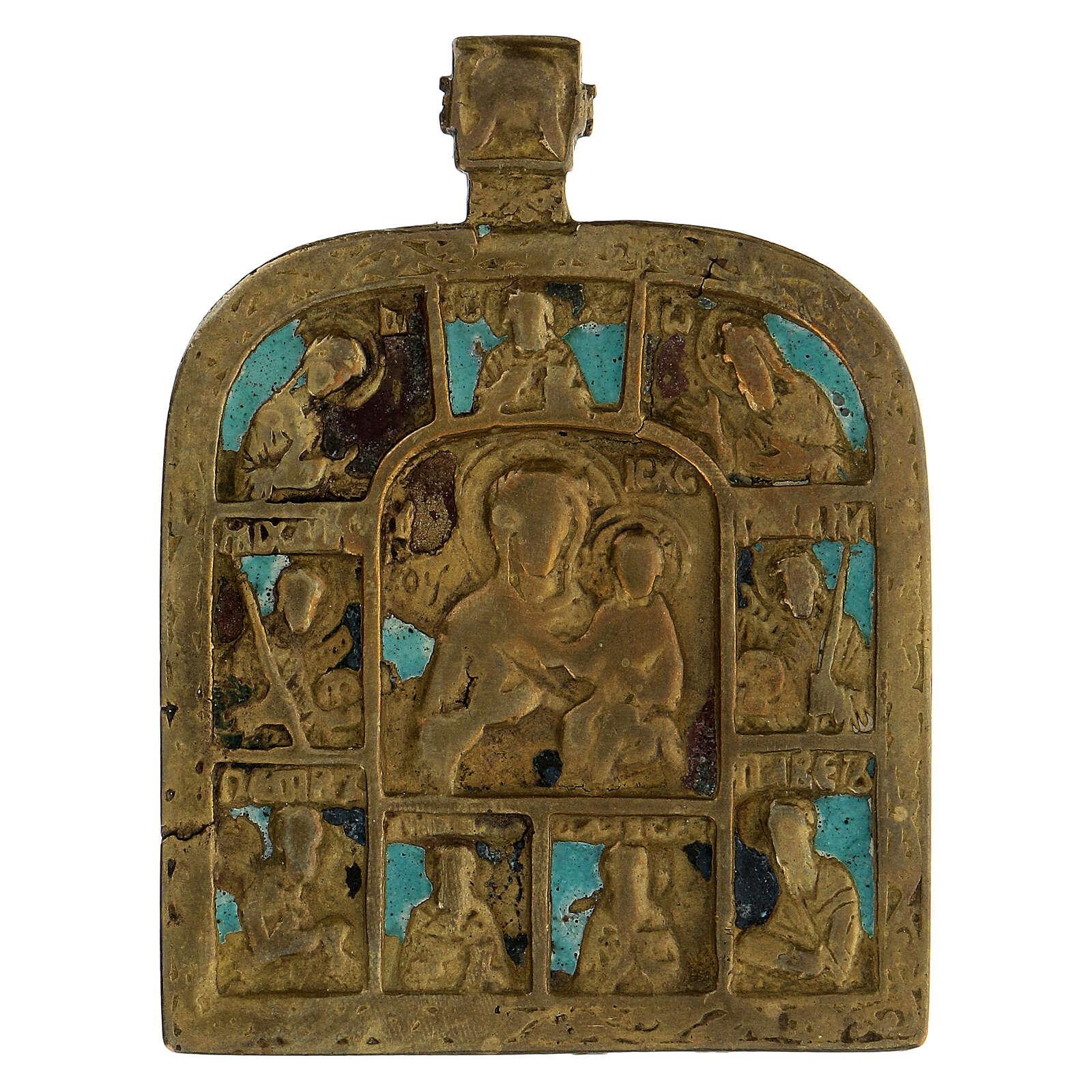 Bronzo Madonna di Smolensk con deesis Russia XIX sec 10x5 cm 4