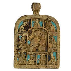 Bronzo Madonna di Smolensk con deesis Russia XIX sec 10x5 cm s2
