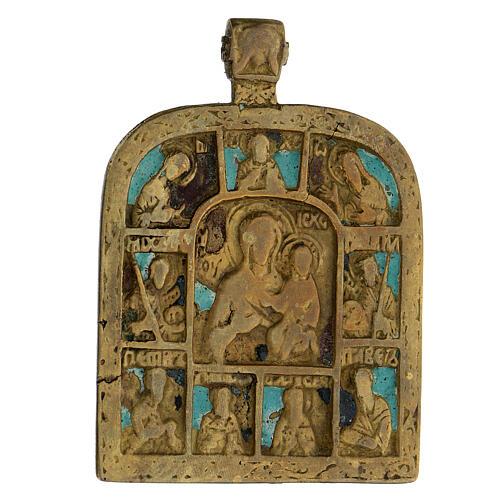 Bronzo Madonna di Smolensk con deesis Russia XIX sec 10x5 cm 2