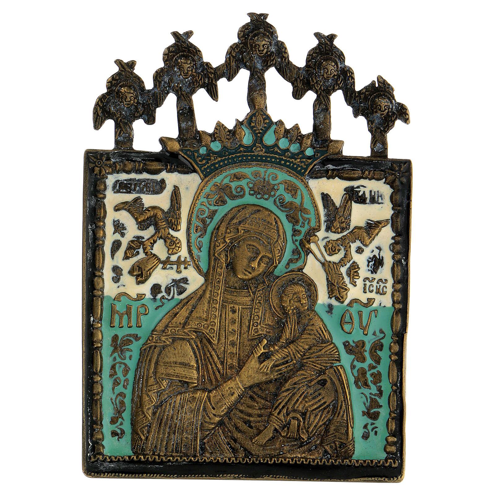 Bronzo Madonna della Passione smaltato Russia XIX sec 10x10 cm 4