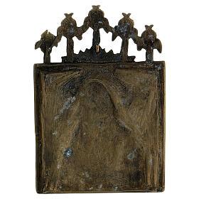 Bronzo Madonna della Passione smaltato Russia XIX sec 10x10 cm s3