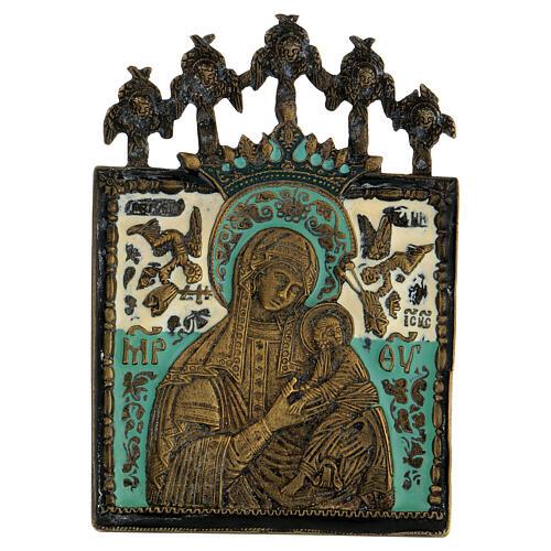 Bronzo Madonna della Passione smaltato Russia XIX sec 10x10 cm 1