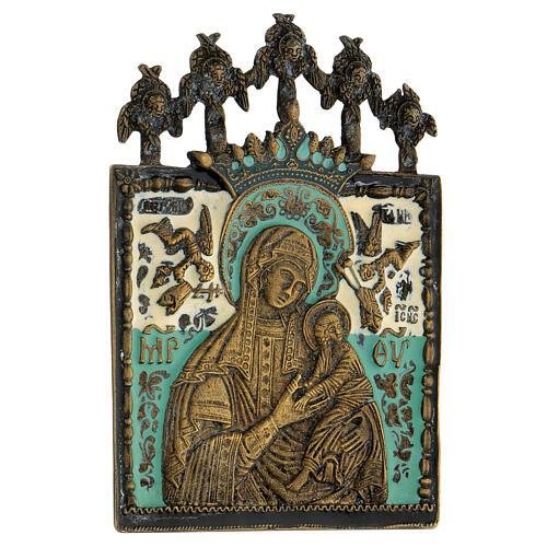 Bronzo Madonna della Passione smaltato Russia XIX sec 10x10 cm 2