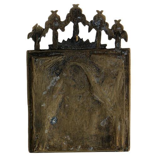 Bronzo Madonna della Passione smaltato Russia XIX sec 10x10 cm 3