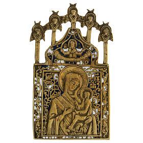 Icona bronzo Madonna di Tichvin Russia XIX sec 15x10 cm s1