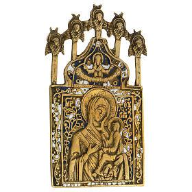Icona bronzo Madonna di Tichvin Russia XIX sec 15x10 cm s2