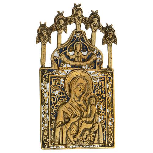 Icona bronzo Madonna di Tichvin Russia XIX sec 15x10 cm 2