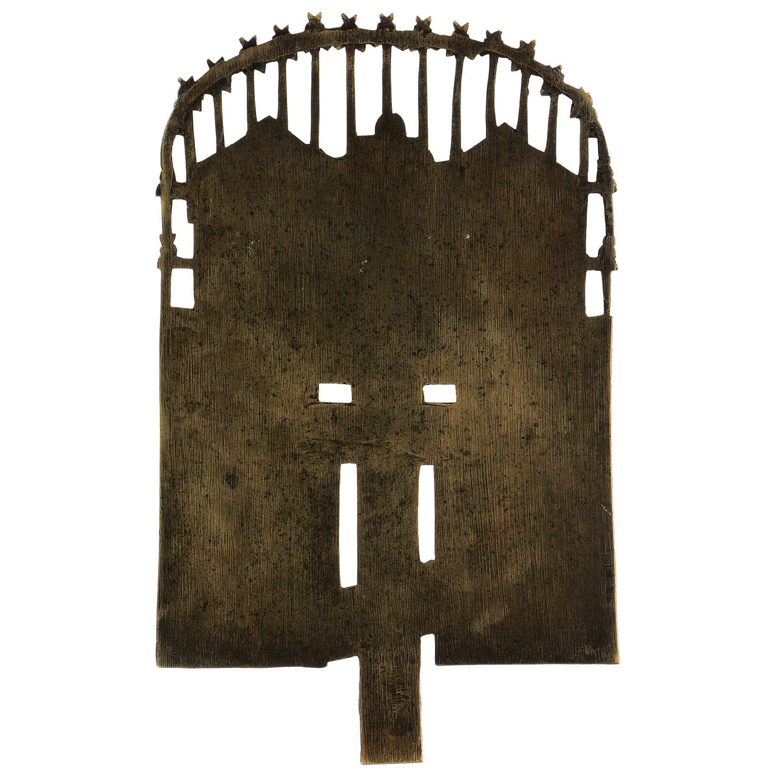 Croce del Patriarca smaltata bronzo antico Russia 40x20 cm 4