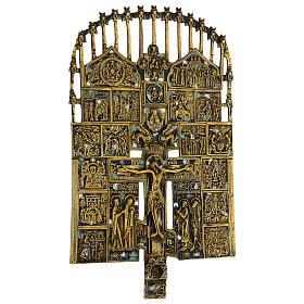 Croce del Patriarca smaltata bronzo antico Russia 40x20 cm s4