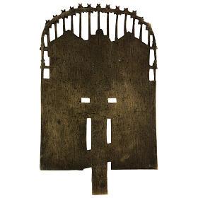 Croce del Patriarca smaltata bronzo antico Russia 40x20 cm s5