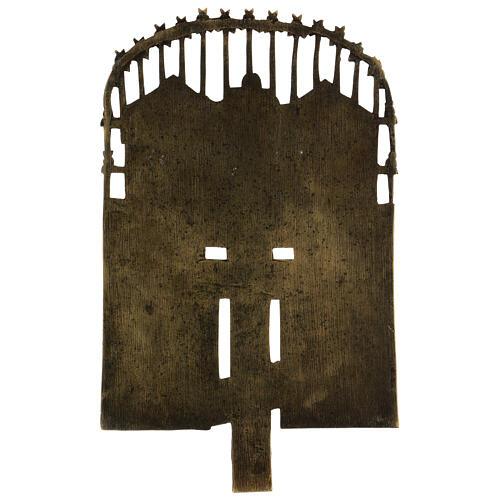 Croce del Patriarca smaltata bronzo antico Russia 40x20 cm 5