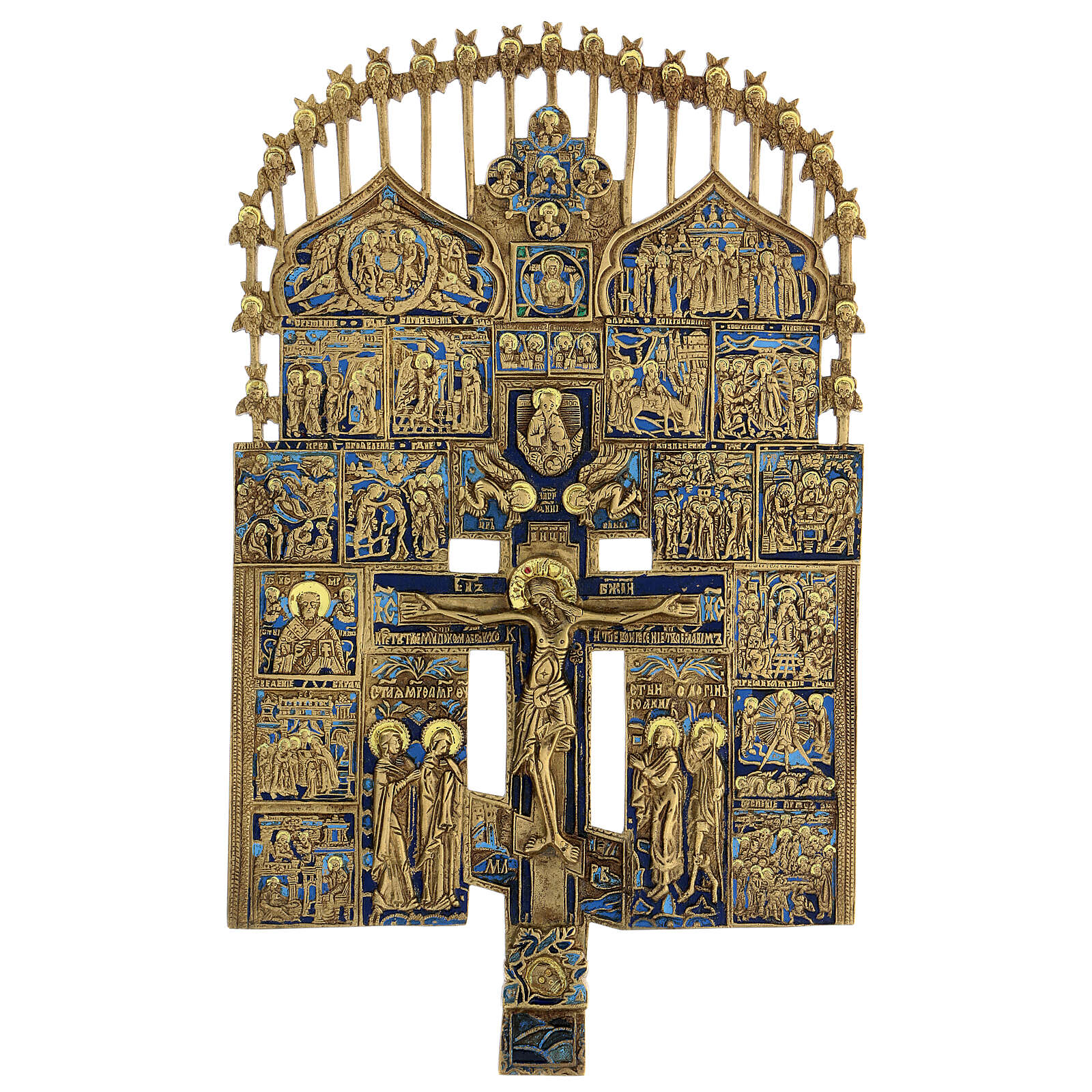 Croce del Patriarca smalto blu Russia XIX sec 40x20 cm 4