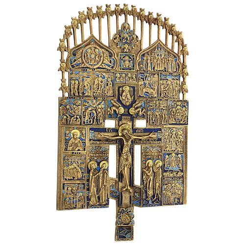 Croce del Patriarca smalto blu Russia XIX sec 40x20 cm 5